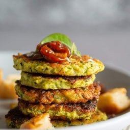 Vegan and gluten free zucchini fritters